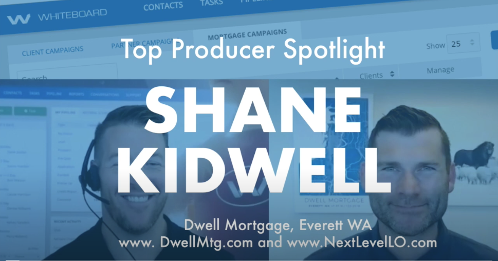 "Photos of Kevin from Whiteboard CRM and Shane Kidwell of Next Level Loan Officers with the words ""top producer spotlight"" over the top and a wash of blue"